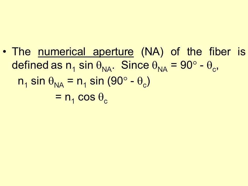 The numerical aperture (NA) of the fiber is defined as n1 sin NA