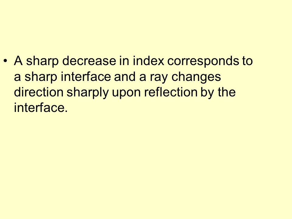 A sharp decrease in index corresponds to a sharp interface and a ray changes direction sharply upon reflection by the interface.