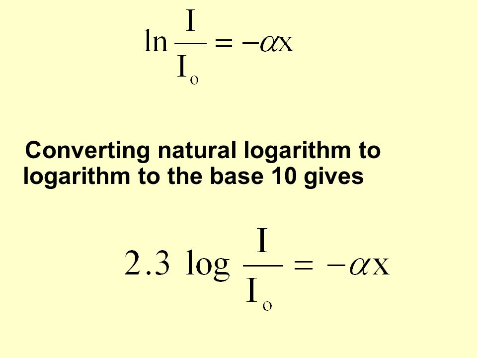 Converting natural logarithm to logarithm to the base 10 gives