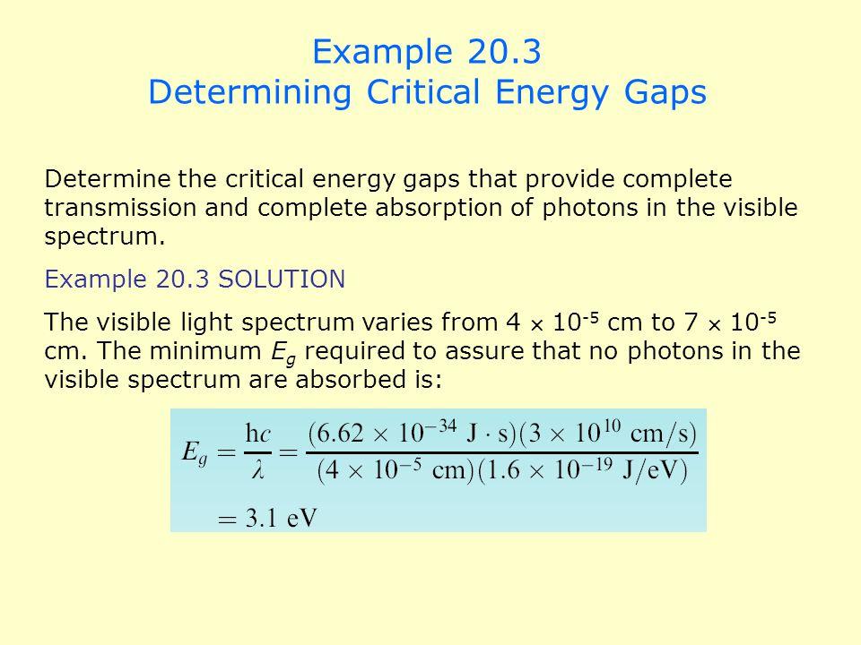 Example 20.3 Determining Critical Energy Gaps