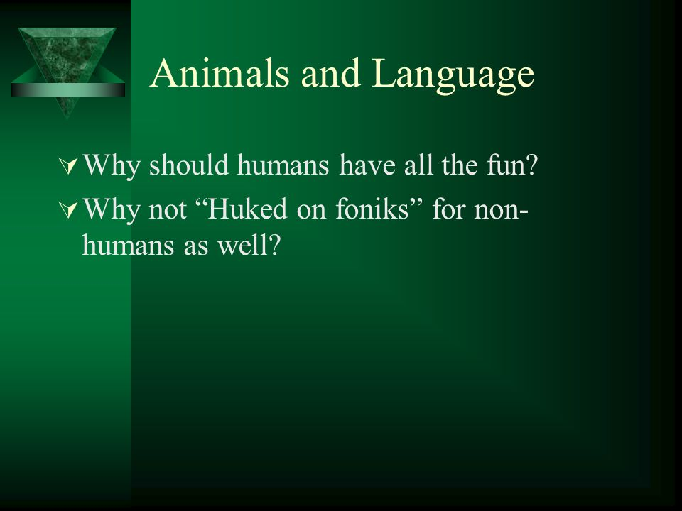 Animals and Language Why should humans have all the fun
