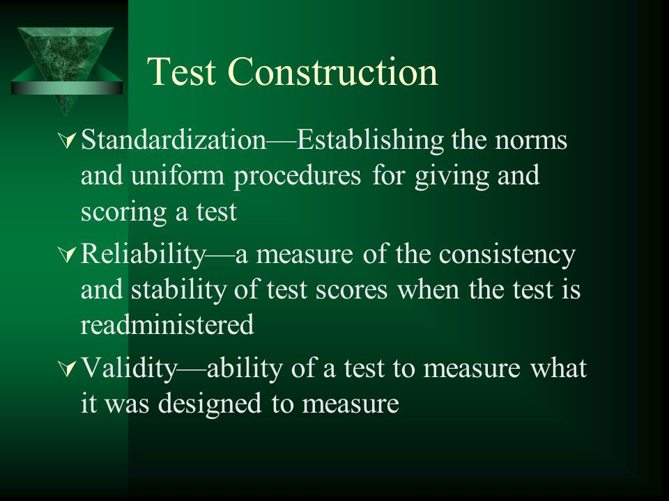 Test Construction Standardization—Establishing the norms and uniform procedures for giving and scoring a test.