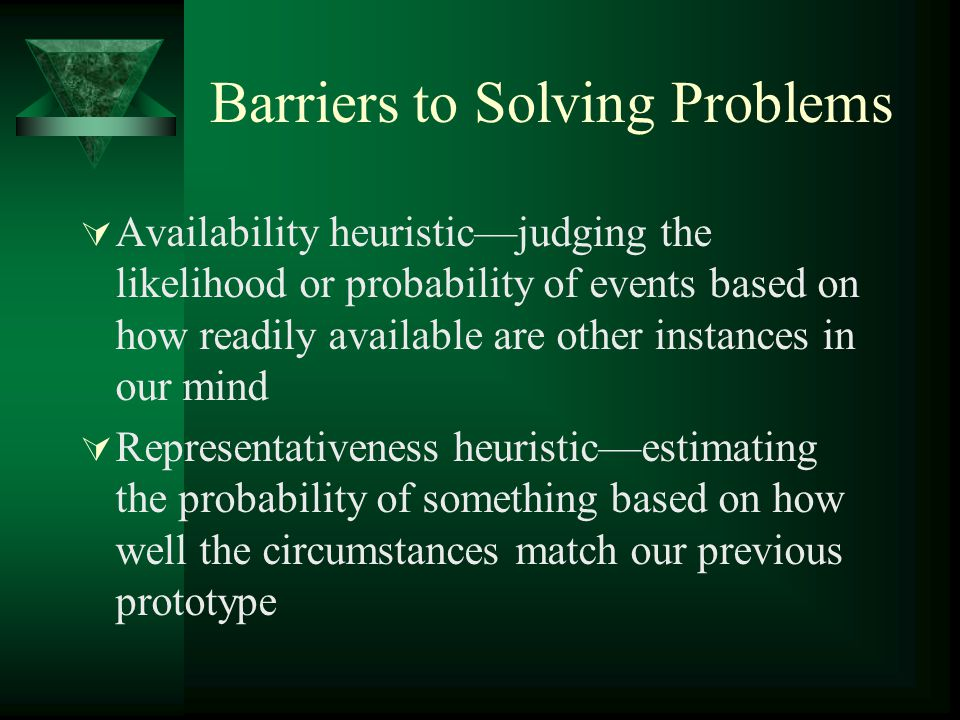 Barriers to Solving Problems
