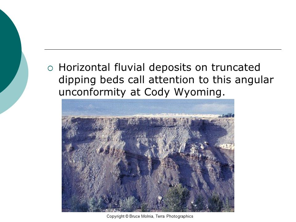 Horizontal fluvial deposits on truncated dipping beds call attention to this angular unconformity at Cody Wyoming.