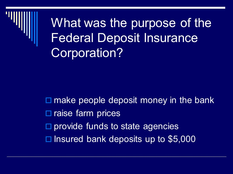 What was the purpose of the Federal Deposit Insurance Corporation
