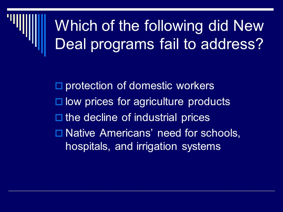 Which of the following did New Deal programs fail to address