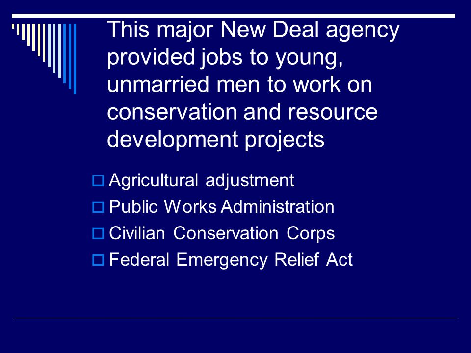 This major New Deal agency provided jobs to young, unmarried men to work on conservation and resource development projects