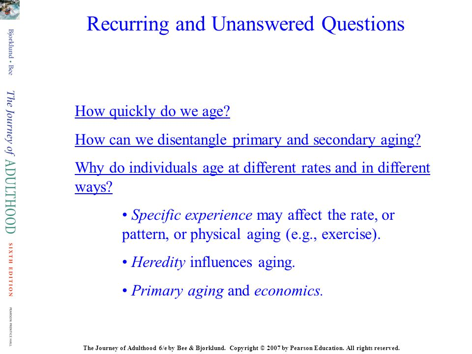 Recurring and Unanswered Questions