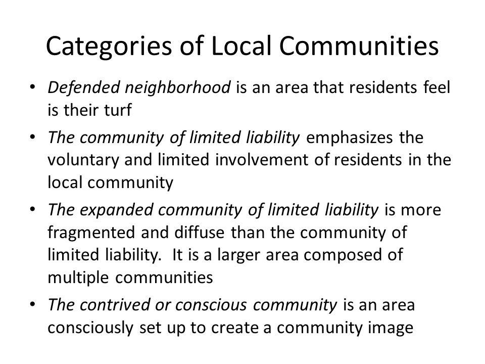 Categories of Local Communities