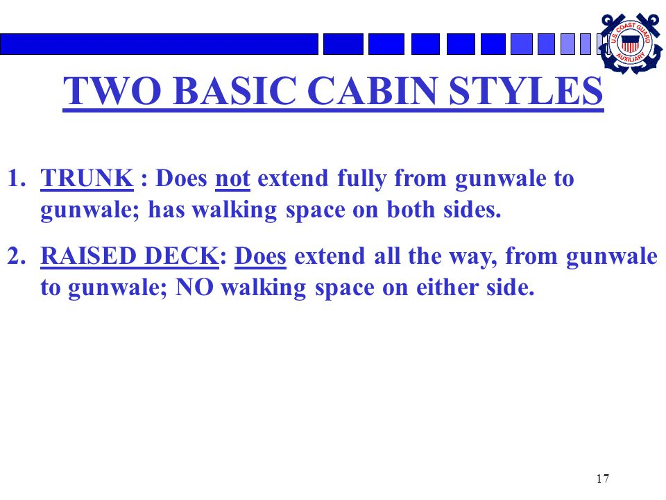 TWO BASIC CABIN STYLES TRUNK : Does not extend fully from gunwale to gunwale; has walking space on both sides.