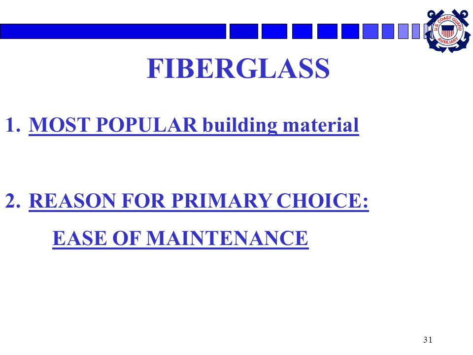 FIBERGLASS MOST POPULAR building material REASON FOR PRIMARY CHOICE: