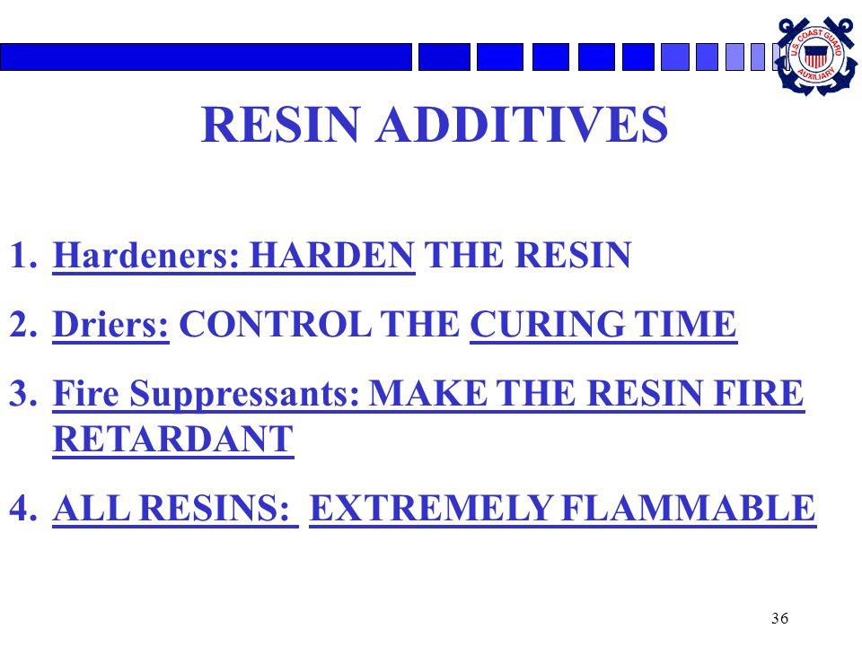 RESIN ADDITIVES Hardeners: HARDEN THE RESIN