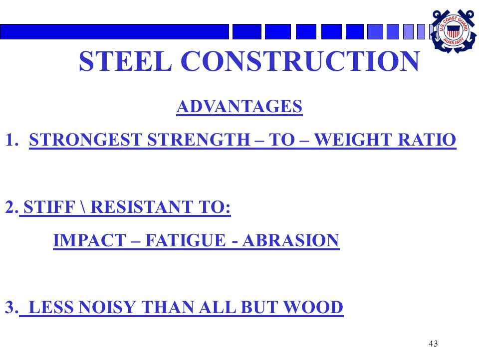 STEEL CONSTRUCTION ADVANTAGES STRONGEST STRENGTH – TO – WEIGHT RATIO