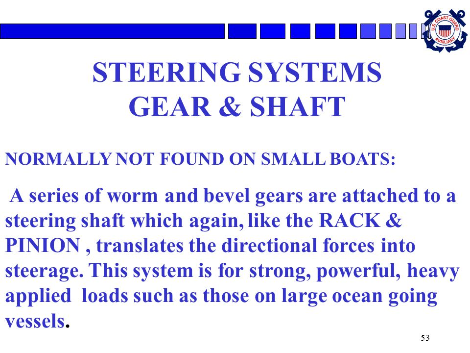 STEERING SYSTEMS GEAR & SHAFT