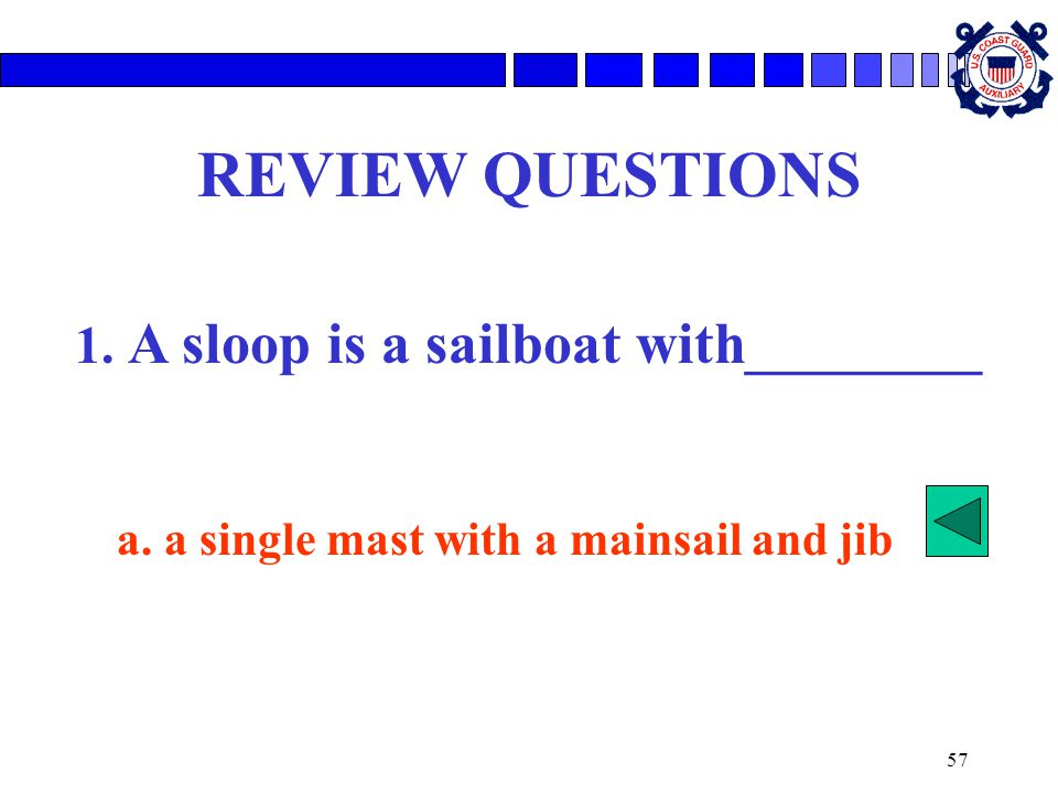1. A sloop is a sailboat with________