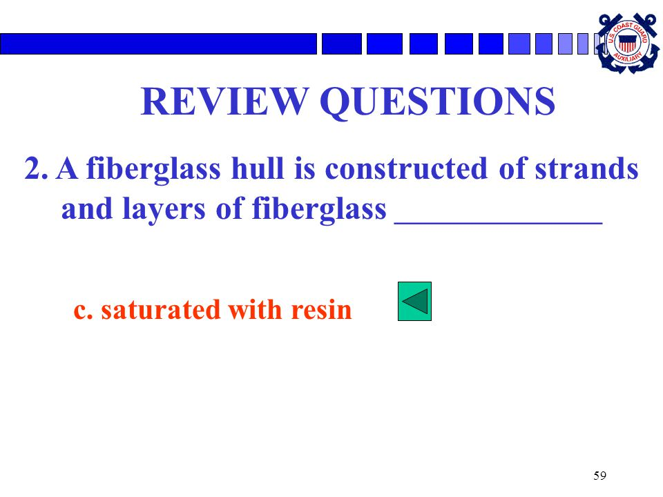 REVIEW QUESTIONS 2. A fiberglass hull is constructed of strands and layers of fiberglass ________________.