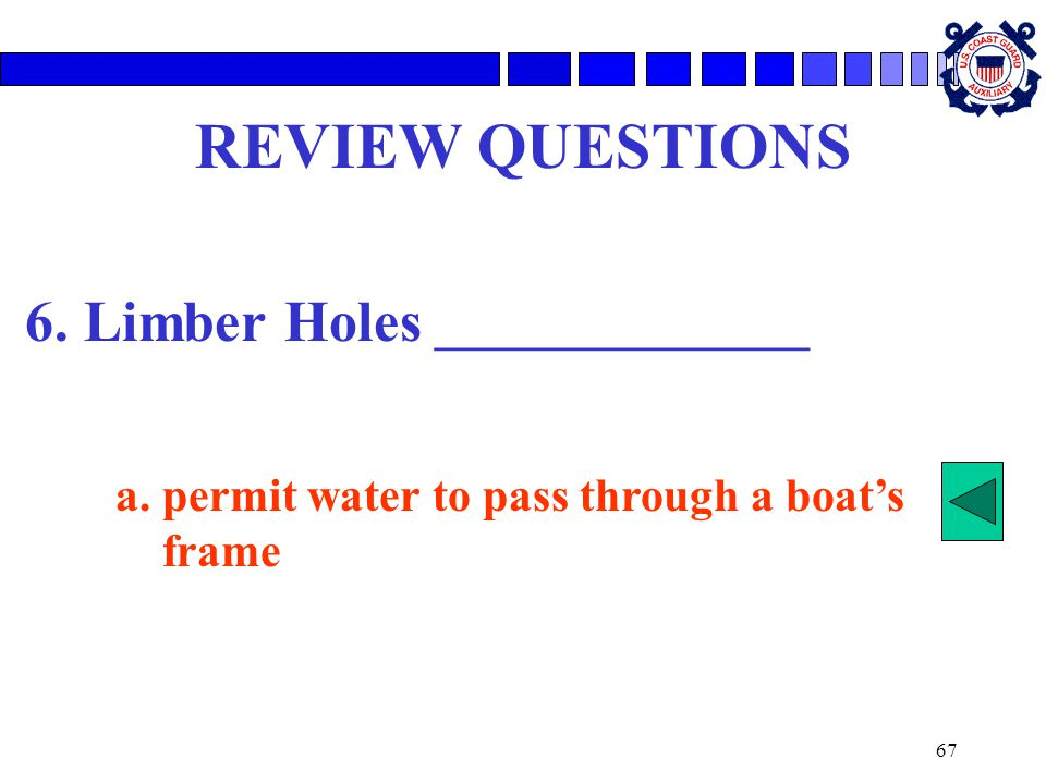 REVIEW QUESTIONS 6. Limber Holes ________________