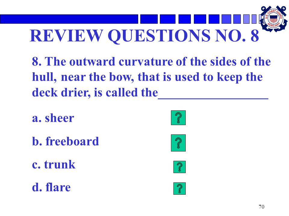 REVIEW QUESTIONS NO. 8 a. sheer