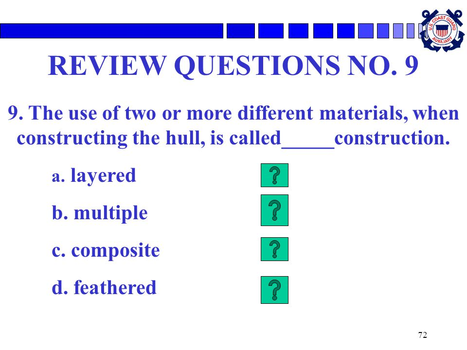 REVIEW QUESTIONS NO. 9 9. The use of two or more different materials, when constructing the hull, is called_____construction.