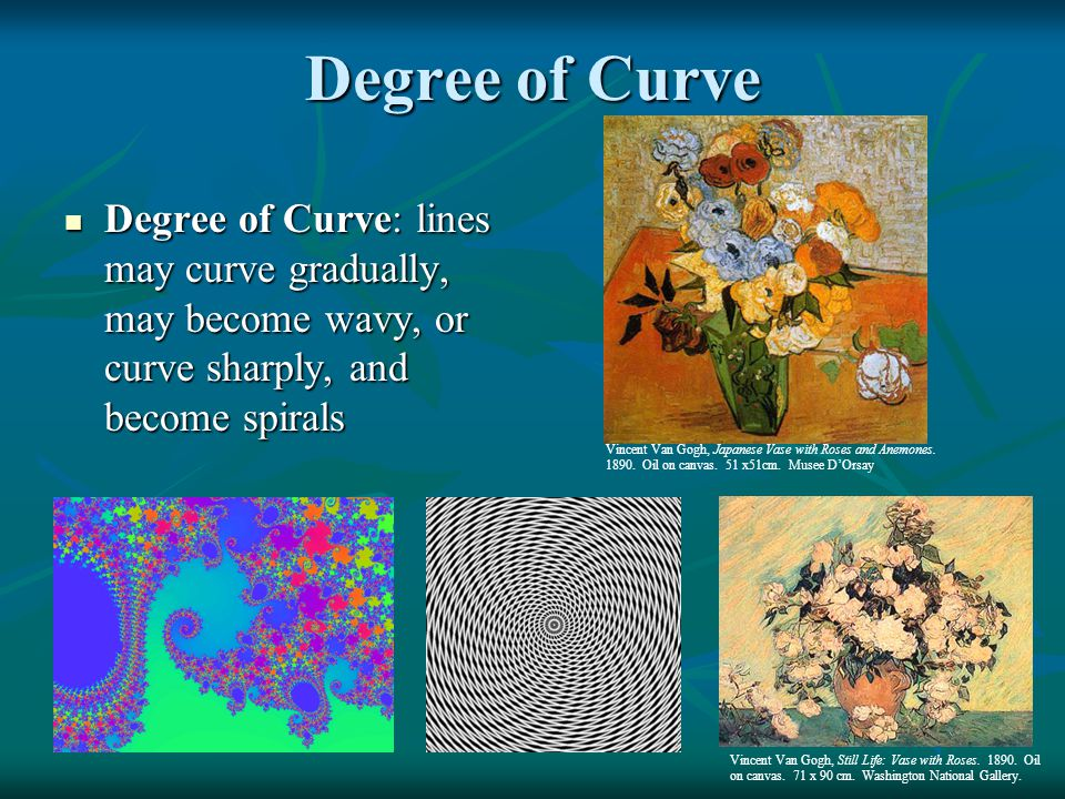 Degree of Curve Degree of Curve: lines may curve gradually, may become wavy, or curve sharply, and become spirals.