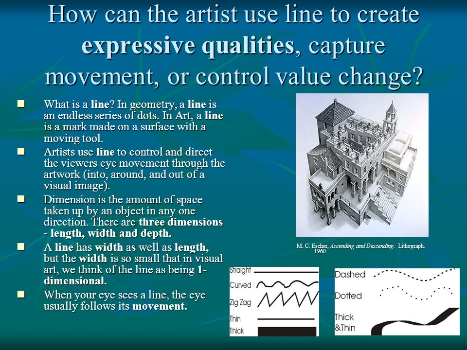 How can the artist use line to create expressive qualities, capture movement, or control value change