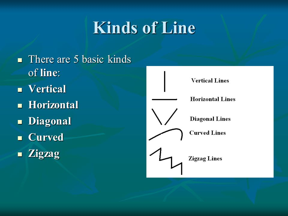 Kinds of Line There are 5 basic kinds of line: Vertical Horizontal