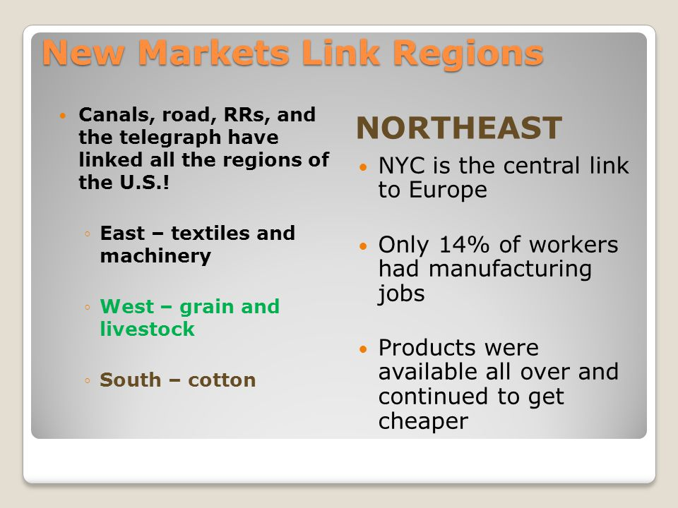 New Markets Link Regions