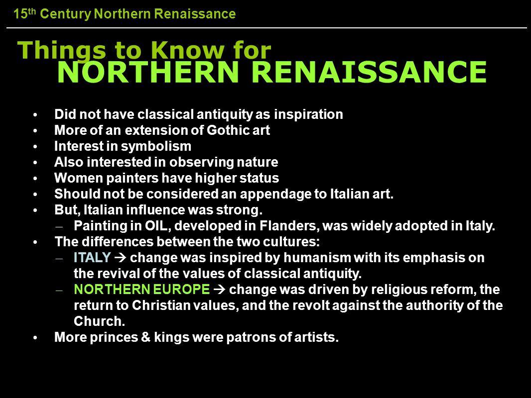 NORTHERN RENAISSANCE Things to Know for
