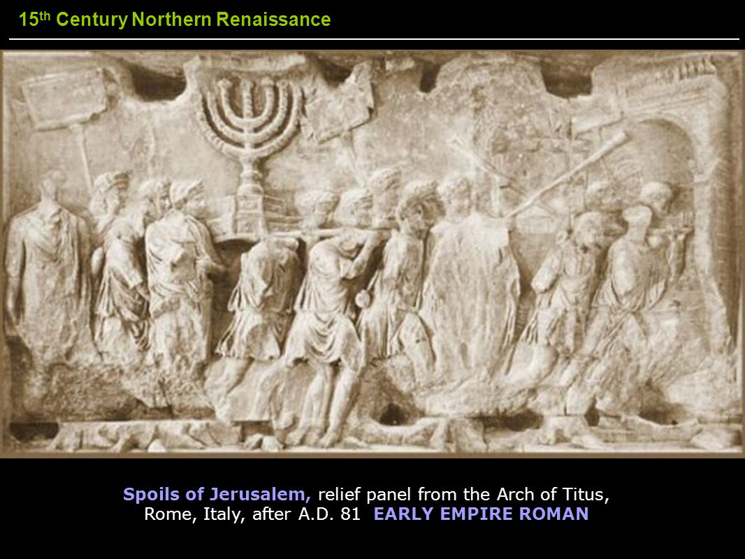 Spoils of Jerusalem, relief panel from the Arch of Titus, Rome, Italy, after A.D.