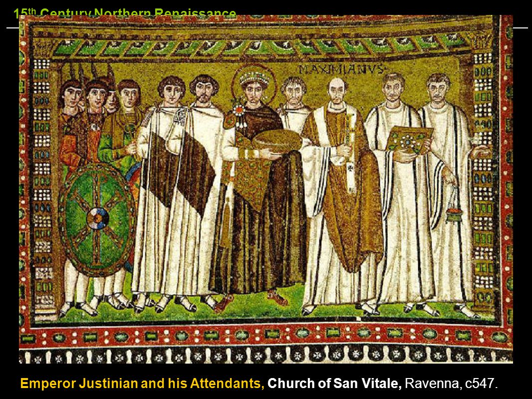 Emperor Justinian and his Attendants, Church of San Vitale, Ravenna, c547.