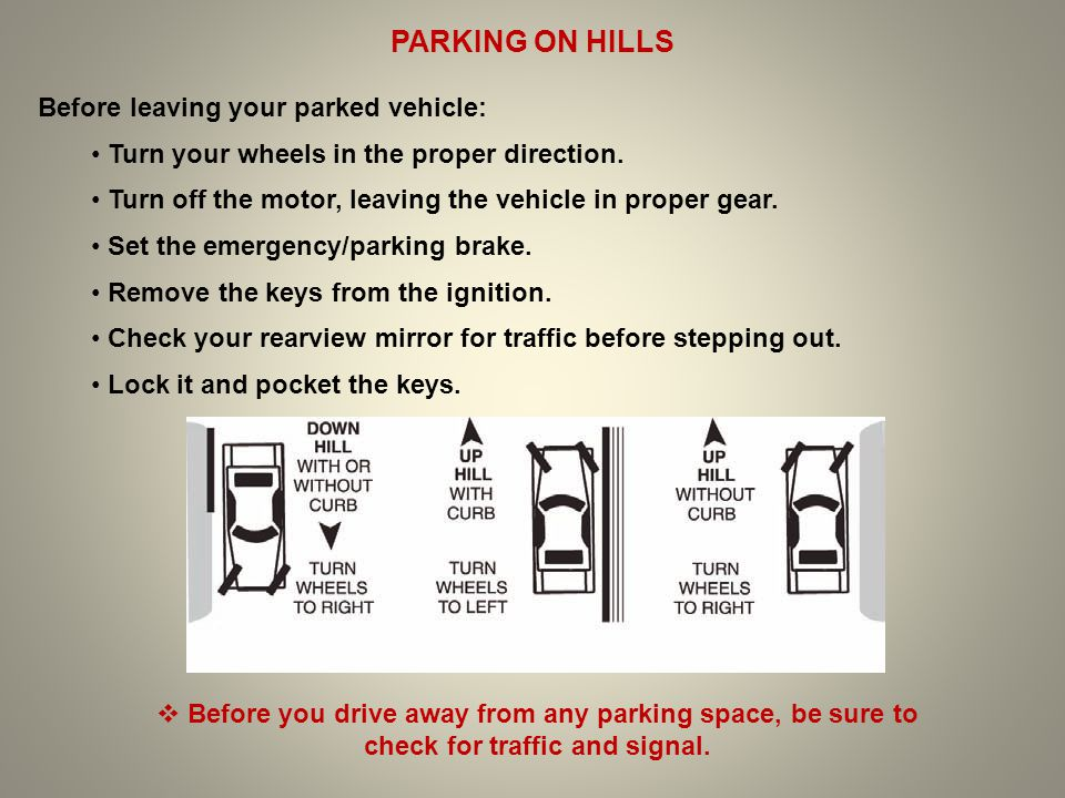 PARKING ON HILLS Before leaving your parked vehicle: