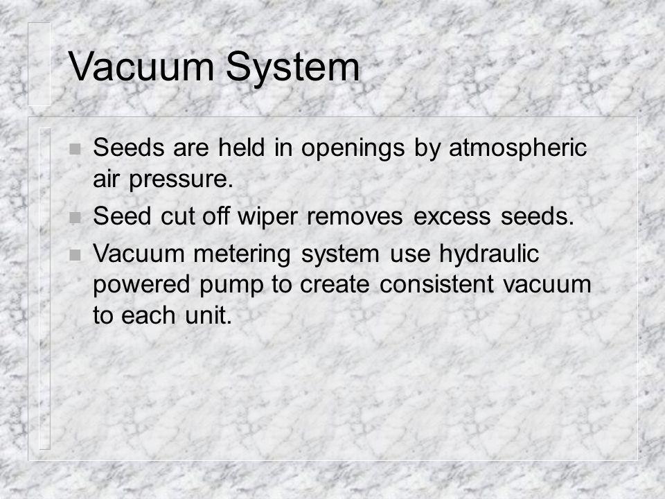 Vacuum System Seeds are held in openings by atmospheric air pressure.