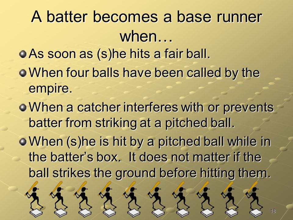 A batter becomes a base runner when…