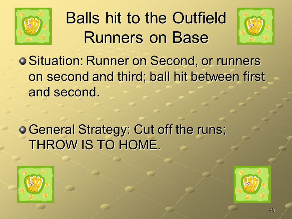 Balls hit to the Outfield Runners on Base