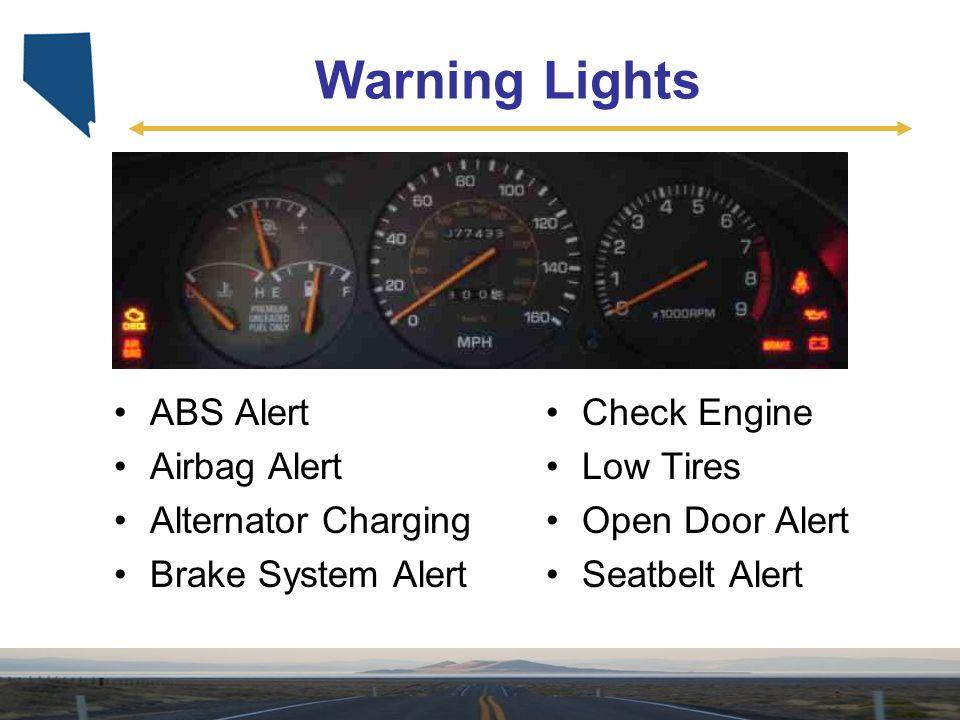 Warning Lights ABS Alert Airbag Alert Alternator Charging