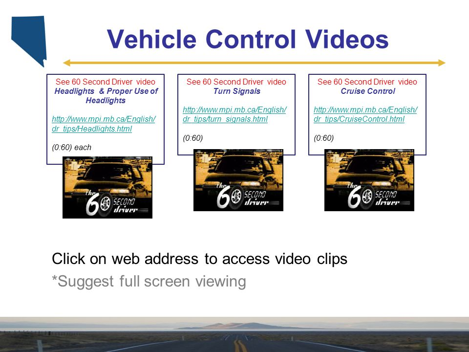 Vehicle Control Videos