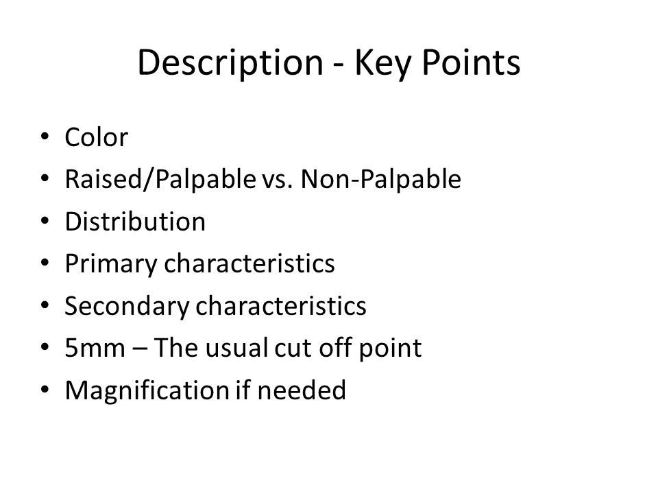 Description - Key Points