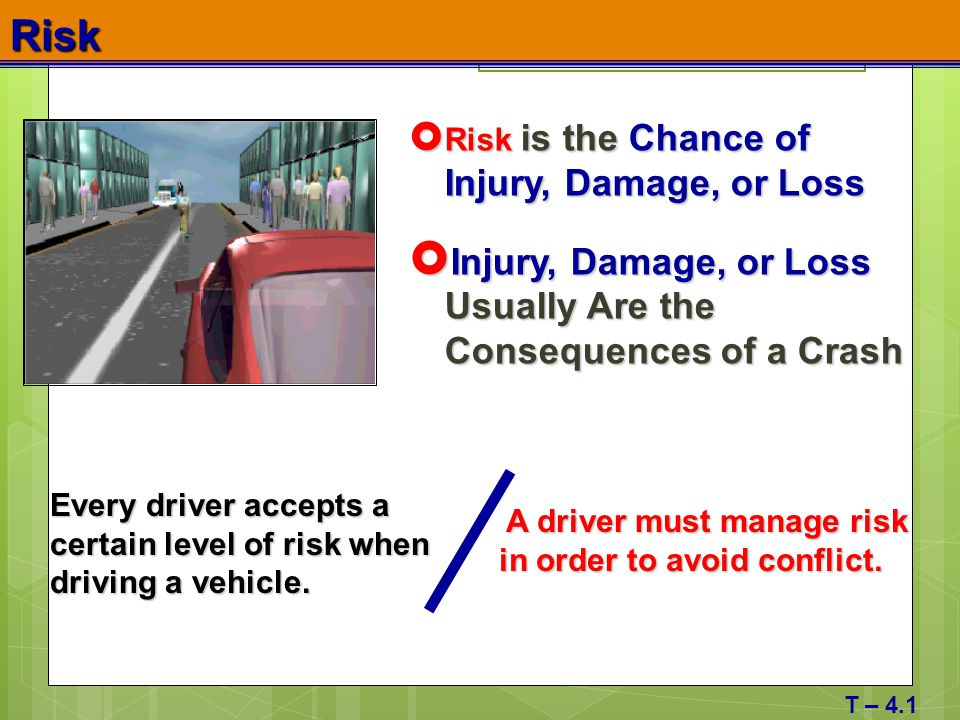 Risk Injury, Damage, or Loss Usually Are the Consequences of a Crash