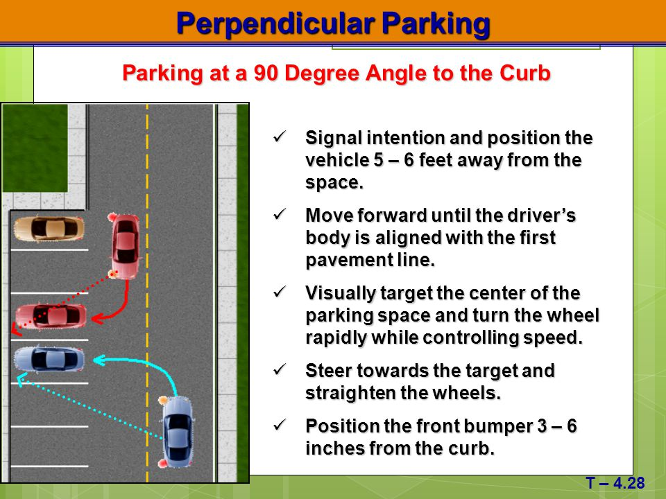 Perpendicular Parking Parking at a 90 Degree Angle to the Curb