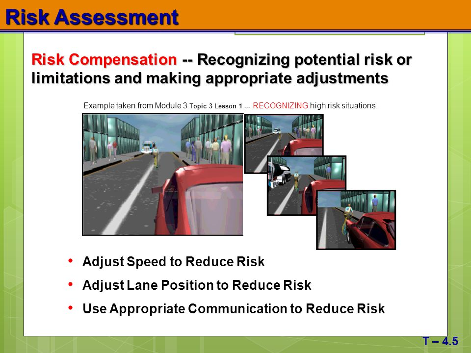 Risk Assessment Risk Compensation -- Recognizing potential risk or limitations and making appropriate adjustments.