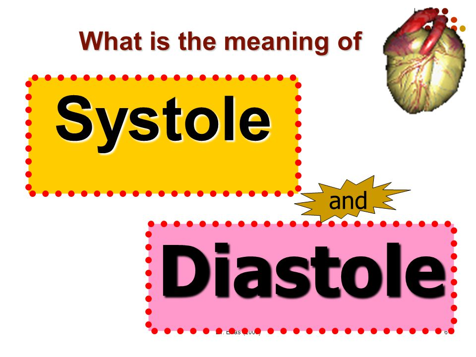 What is the meaning of Systole and Diastole Dr. Enas (2009)