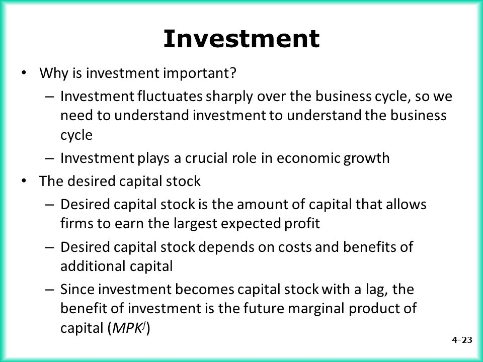Investment Why is investment important