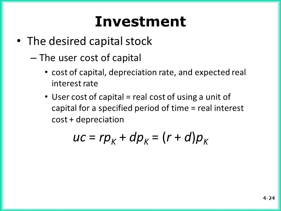 Investment The desired capital stock The user cost of capital