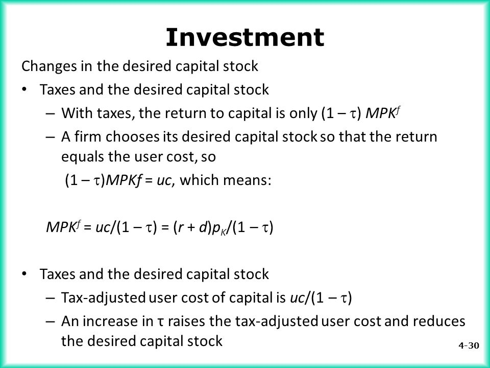 Investment Changes in the desired capital stock