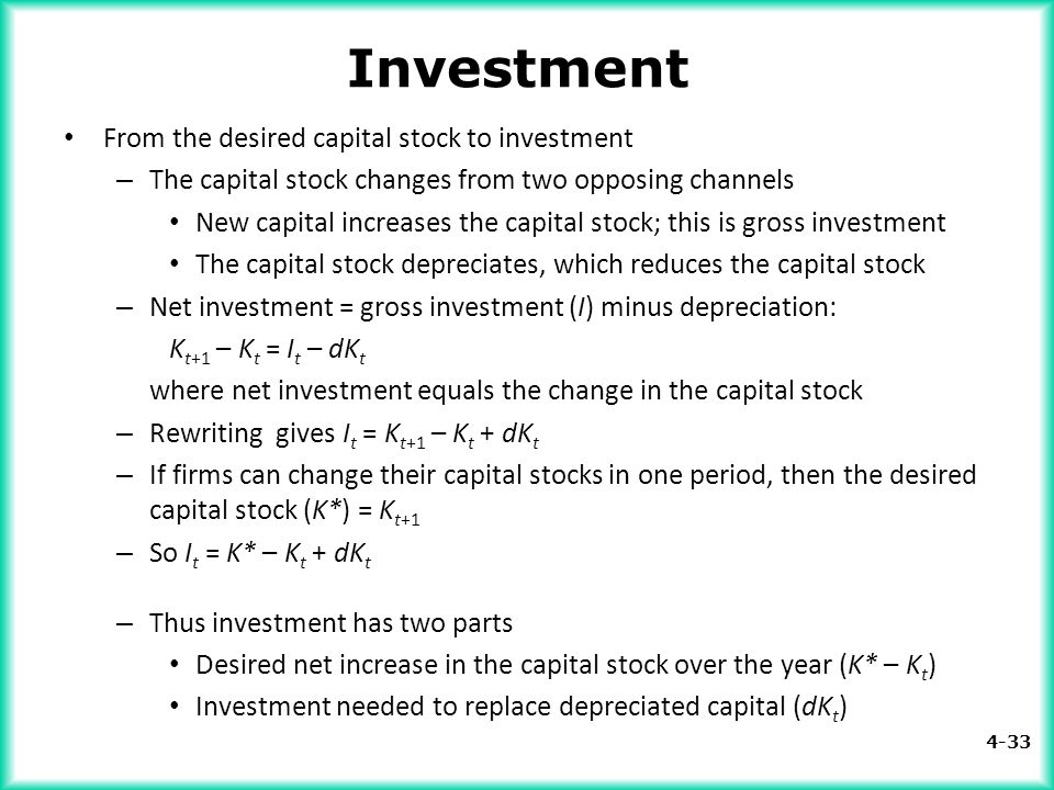 Investment From the desired capital stock to investment