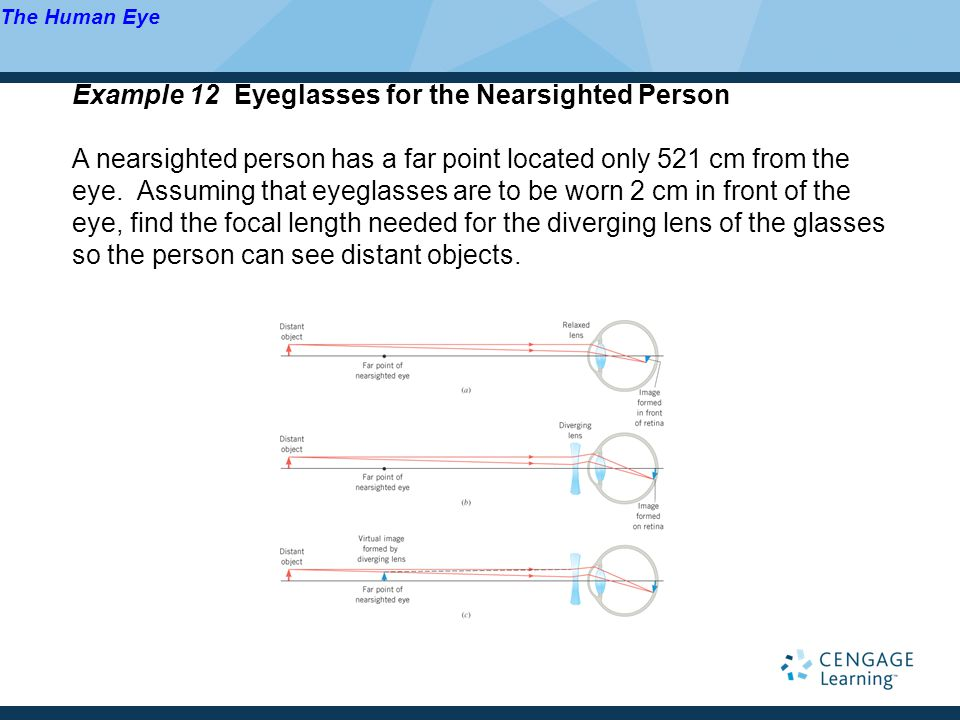 Example 12 Eyeglasses for the Nearsighted Person