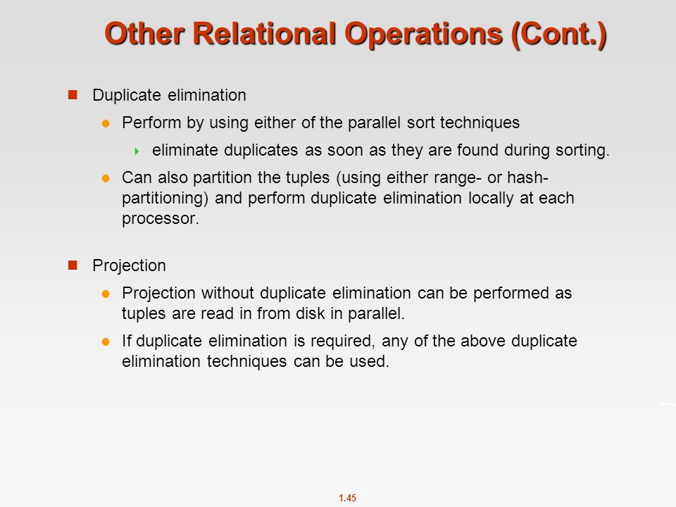 Other Relational Operations (Cont.)