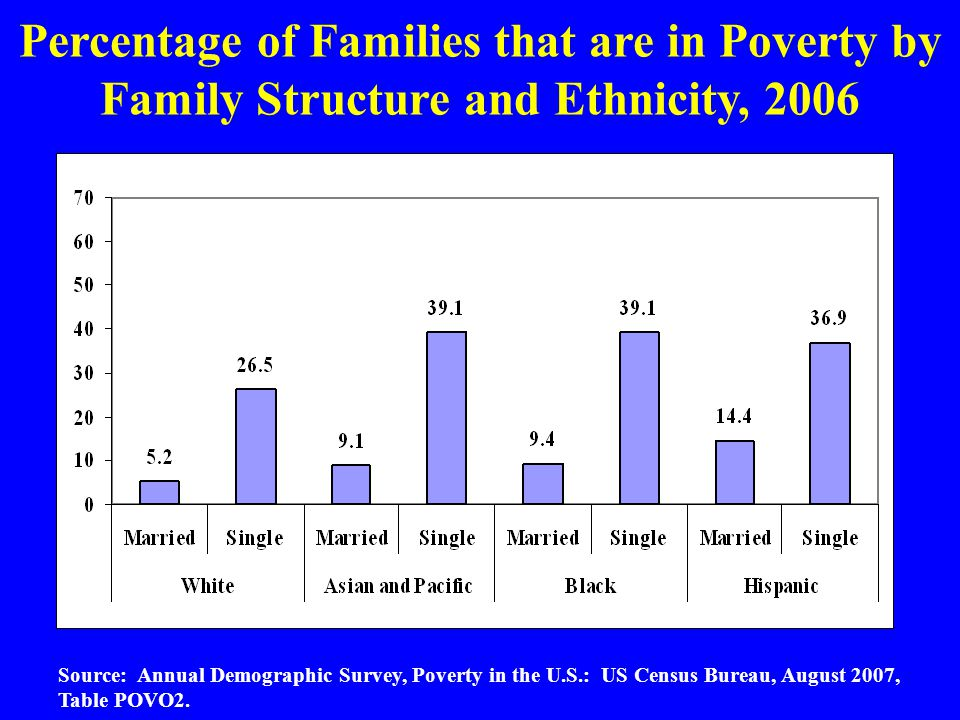 Percentage of Families that are in Poverty by Family Structure and Ethnicity, 2006