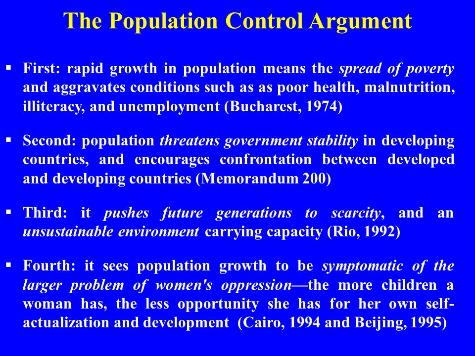 The Population Control Argument
