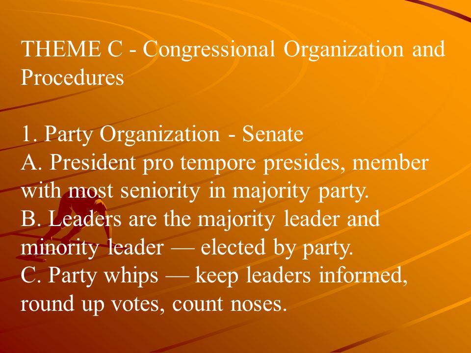 THEME C ‑ Congressional Organization and Procedures
